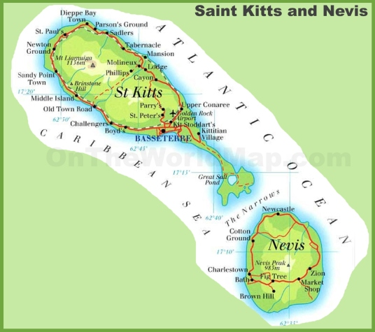 saint-kitts-and-nevis-road-map